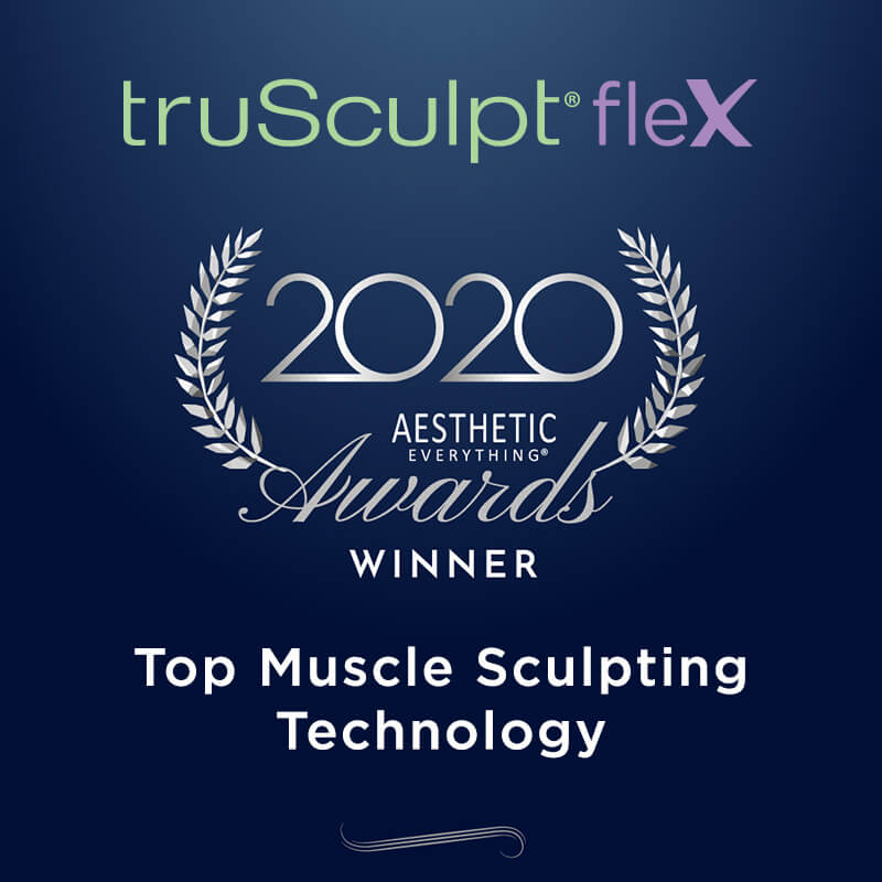 The Aesthetic Everything 2020 Muscle Sculpting award received by the truSculpt fleX