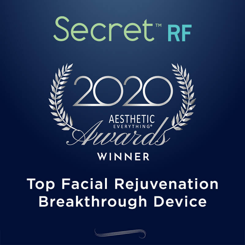 The aesthetic everything 2020 award for best skin rejuvenation treatment awarded to Secret RF