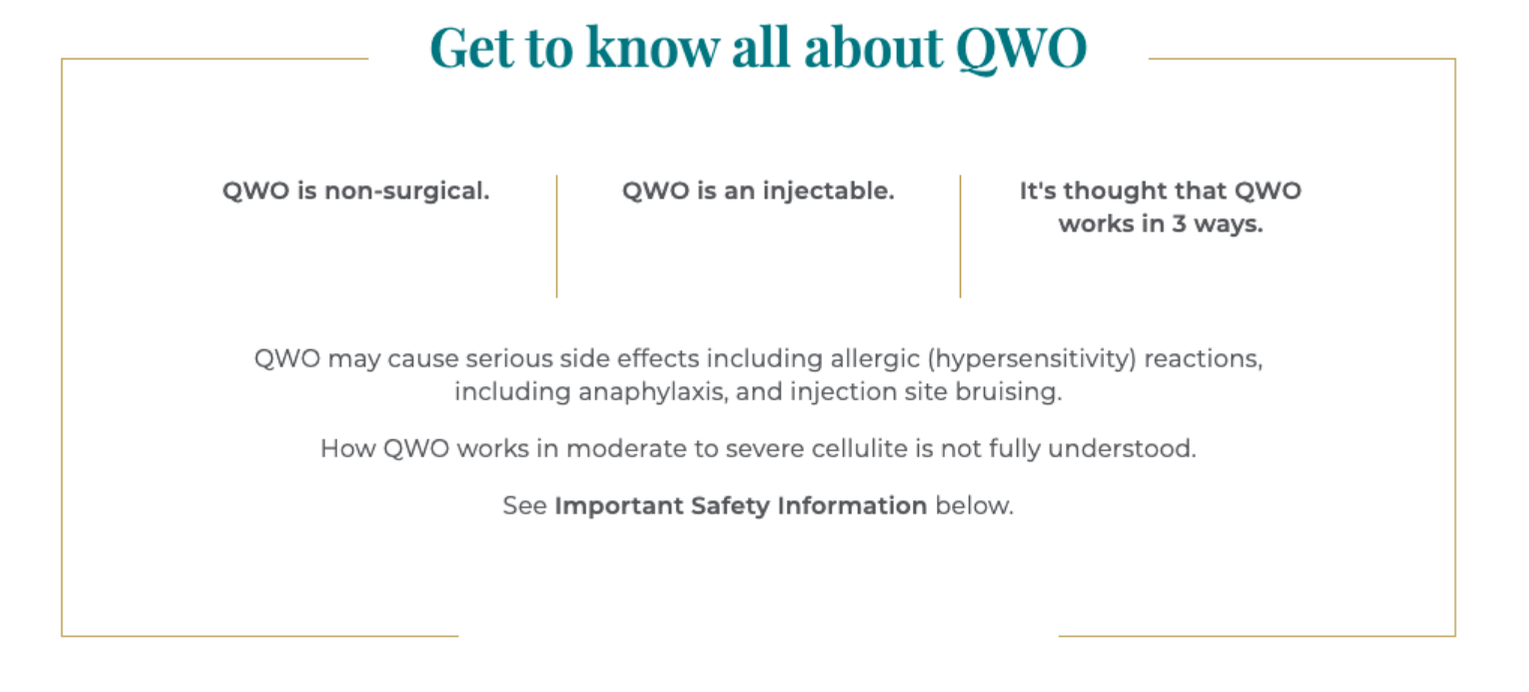 A banner explaining everything there is to know about the QWO non-surgical injectable treatment for cellulite and how it works